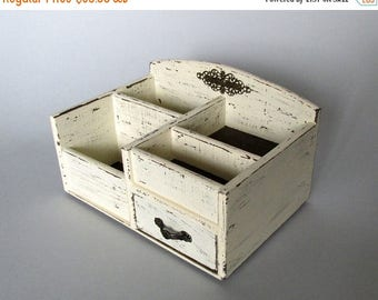 ON SALE Wooden Desk Organizer Office Organizer Pencil Cup Office Decor Caddy Tools Office Supplies Holder Home Decor Distressed Finish