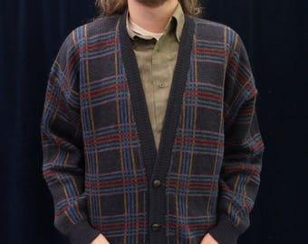 Skjaeveland Vintage Sweater • Wool cardigan • Navy blue striped cardigan • Norwegian sweater • wool sweater • unisex • plus size
