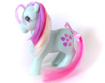 G1 My Little Pony Twinkle Eyed Sweet Stuff Vintage 1985 80s Hasbro TE Ponies Blue Purple Pink With Hair Bow Ribbon Gem Eyes Candy Sweets