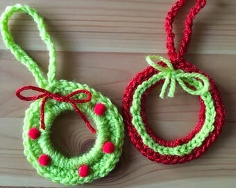 Christmas wreath , christmas tree decoration , christmas bauble , crochet wreath