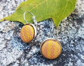 Girasol - Earrings - Twill - Wrap Scrap - Stainless Steel - Striped - Yellow - Orange