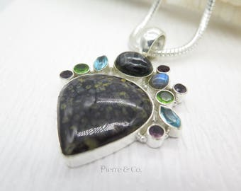 Black Jasper Labradorite Blue Topaz Sterling Silver Pendant and Chain