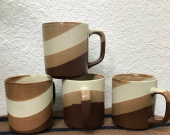Vintage Brown Swirl Glazed Coffee Mugs. Set of four