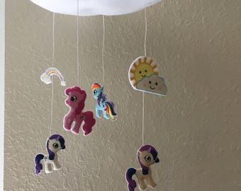 Little Pony Mobile, Cloud Baby mobile, kids & baby room mobile, Nursery Decor, Modern Mobile, Clouds Mobile, Nursery Mobile, Crib Mobile