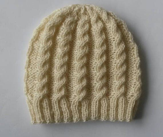Cable knit beanie: classic Aran hat. Handknit beanie. Original design. Made in Ireland. Wool handknit hat. Women's beanie. Gift for her.