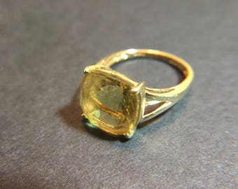 14K yellow gold ring with large faceted citrine, size 6, weight 3.6 grams