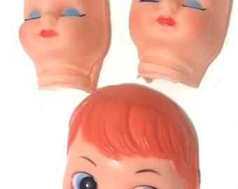 Vintage Lot of 3 Vintage Rubber Doll Heads
