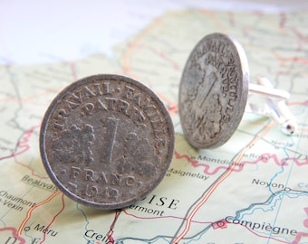 France 1941/1942/1943/1945/1947/1948/1949 Franc vintage coin cufflinks - made of coins from France - birth year - wedding gift - groom