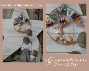 Custom GENERATIONS Tree Of Life Suncatcher, Family Tree of Life, Sunjewel, Window Decoration, Family Tree, Family Tree birthstones