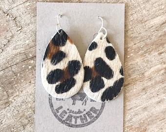 Tan Leopard Print Leather Earrings~Handmade