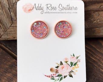 12mm pink druzy earrings in silver OR rose gold, druzy studs, druzy earrings, rose gold druzy earrings, rose gold druzy, rose gold earrings