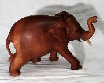 Elephant wood carving (#elfnt10.5mx)
