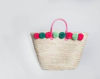 Pom Pom Bag Beach Bag Nursery Storage Pom Pom Basket