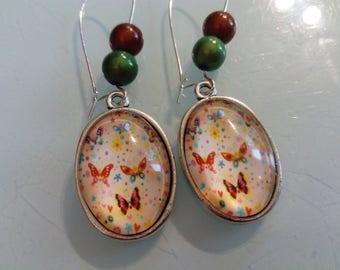 earring dangle multicolored Butterfly