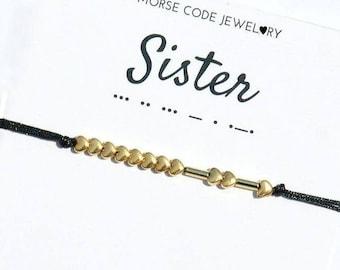 SISTER Morse code bracelet Sister bracelet Christmas gift for sister Stocking stuffer for sister Gift for sis Gift under 20