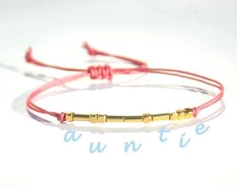 Auntie morse code bracelet Christmas gift for Aunt Stocking stuffer for aunt gift Aunt bracelet Morse Code Aunt