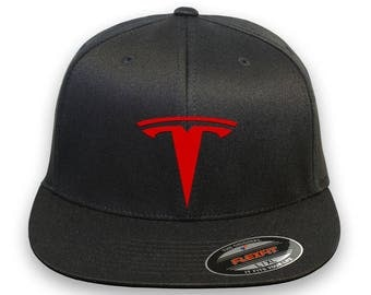 TESLA Motor Flex Fit HAT  Cap Thermo Film -Vinyl Embroidery Option Car Drive Black with Red Logo