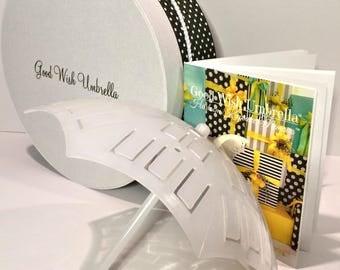 Good Wish Umbrella® Bridal/ baby Shower Time-Honored Beribboned Novelty and Generational Memoir Record-Book Gift Set Black-White Poker Dots