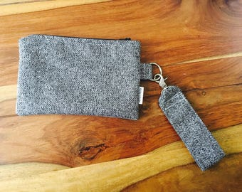 READY / clutch with wrist strap / small purse / gift for her / gift for her / silver / silver / travel case