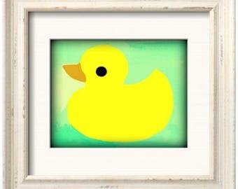Rubber Ducky Art Print - Mint (8x10)