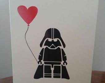 Star Wars - Darth Vader - Lego - greeting card - blank card - Birthday - anniversary - Love - balloon - Heart - thank you - Father's Day