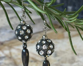 Gunmetal Pave Crystal Earrings, Gunmetal Spike Charm, Gunmetal Crystals Ball, Rhinestone Pave Drop, Crystal Earrings, Gunmetal Ear Wire