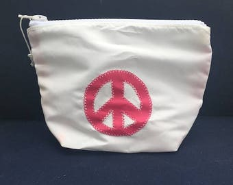 Sunblock Bag -Pink Peace Sign - Made from Recycled Sail