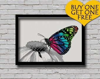 Cross Stitch Pattern Butterfly Rainbow Color Animal Pattern Nature Inspired Animal Embroidery Modern Decor  Digital Pattern