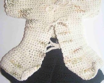 Set for doll/doll 36/38 cm knitted mottled tunic, hand cream, black flared skirt