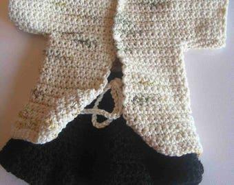 Set for doll/doll 34/36 cm knitted mottled tunic, hand cream, black flared skirt