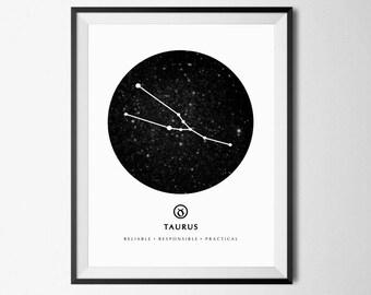 Taurus Print, Taurus Constellation, Astrology Zodiac Art, Taurus Zodiac, Zodiac Sign Wall Art, Taurus Gift, Zodiac Constellation, Taurus Art