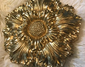 12 x 12 Wood Carved Golden Flower Wall Hanging Decor