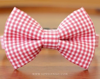 Classic Check Cat Bow Tie Collar – Red