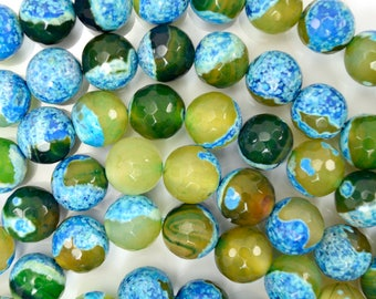 """12mm faceted blue green crab fire agate round beads 15"""" strand 38410"""