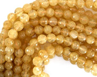 """10mm faceted pineapple quartz round beads 15"""" strand 39219"""