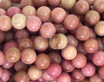 """8mm pink rhodonite round beads 15.5"""" strand 35701"""