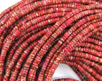 """4mm pink sea sediment jasper heishi beads 16"""" strand 31299"""