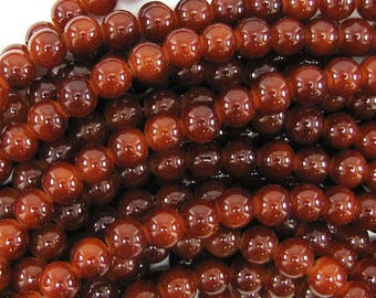 "8mm glass round beads 14"" strand brown 32498"