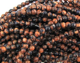 "4mm snowflake blue goldstone round beads 14"" strand 30825"