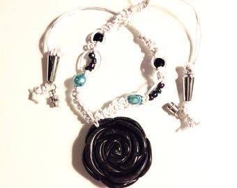 Black Rose Hemp Choker Necklace