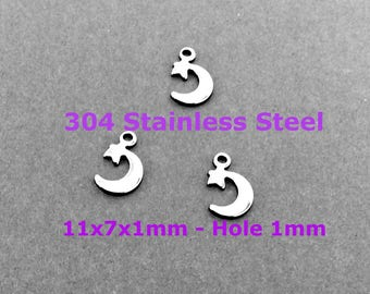 MOON QUARTER 304 Stainless Steel Astral DIY Pendant Connector Charm Findings Hardware Craft Supplies Jewelry Lucky Do It Yourself Mini