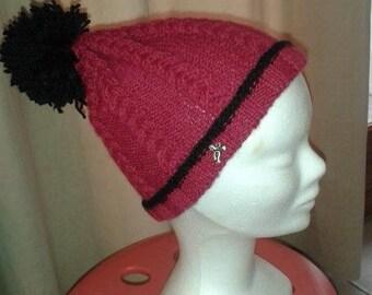Pompom Rose Framboise and black Knit Beanie