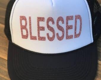 Blessed Trucker Hat, Blessed Baseball Hat, Rose Gold Blesses Trucker Hat