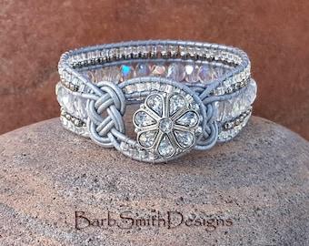 "ON SALE!  Crystal Wrap Bracelet, Beaded Leather, Silver Metallic Leather, Celtic Knot, Cuff Bracelet, Size 7 3/8"", Knotty One Silver Mist"