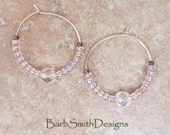 """Beaded Pink Crystal Copper Rose Gold Hoop Earrings, 1"""" Diameter, Mystic Pink Lace"""