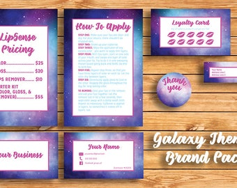 Galaxy Themed Lipsense Brand Pack with Business Cards, Pricing List, How to Apply & Extras