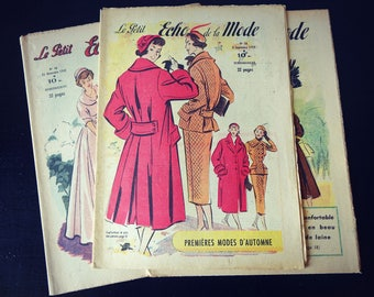 "Old magazine. ""Le petit echo fashion"" Edition French vintage. Great for scrapbboking/frame/curiosity"