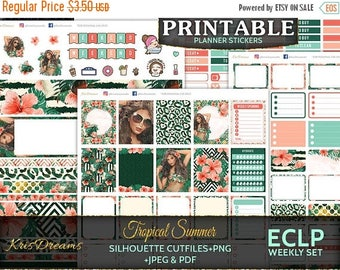 SALE 50% OFF Tropical Summer, Erin Condren Weekly Planner Sticker, Weekly Stickers, Printable, Cutfiles, Silhouete, Cricut, Blackout, Woman
