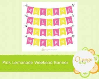 Pink Lemonade Weekend Banner Stickers, Weekend Stickers, Erin Condren Life Planner