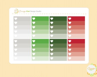 Christmas Ombre Checkbox Stickers, Christmas Planner Stickers, Erin Condren Life Planner, Happy Planner, Filofax